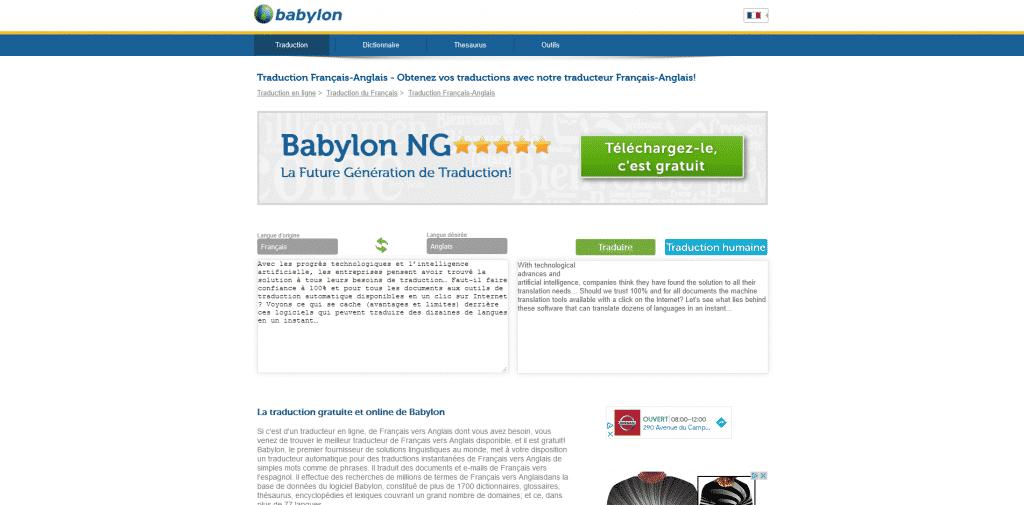La traduction gratuite et online de Babylon