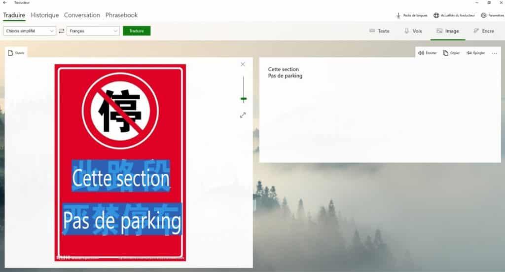 Microsoft Translator traduction images