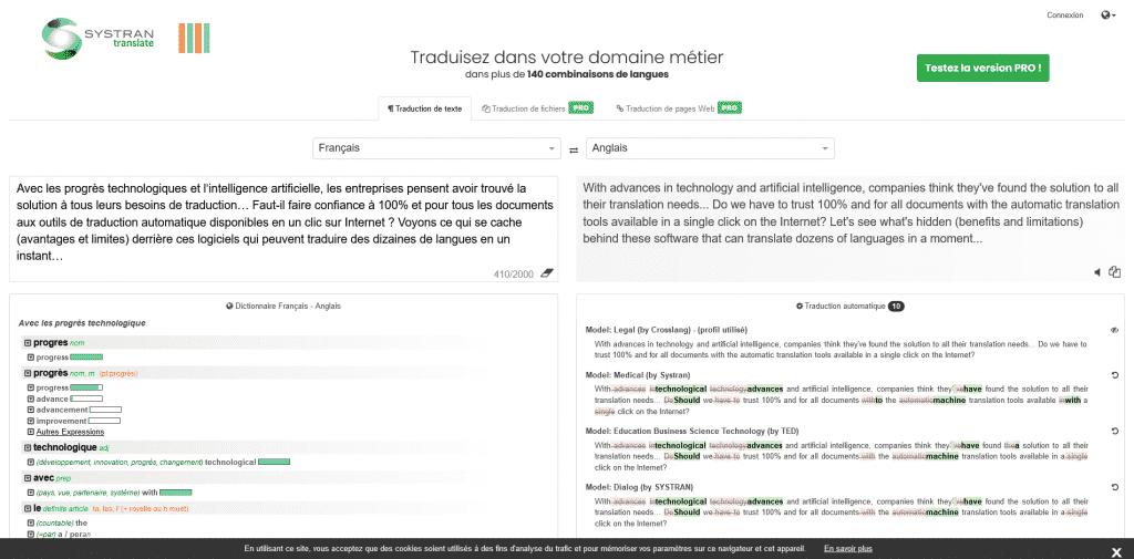 Systran Traduction de texte juridique Français Anglais